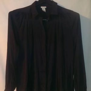 Silky Black Gathered Blouse W/ Hidden Button Front